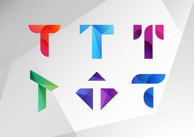 抽象的なグラデーションtロゴコレクション