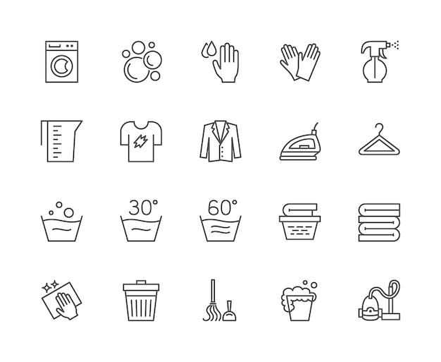 ランドリーラインアイコンのセット。洗濯機、手袋、tシャツ、ハンガーなど。