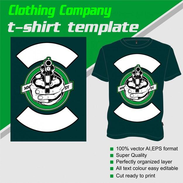 衣料品会社、tシャツテンプレート、銃を処理