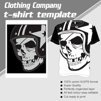 衣料品会社、tシャツテンプレート、頭蓋骨を着ているヘルメット