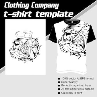 衣料品会社、tシャツのテンプレート、犬の身に着けているキャップ