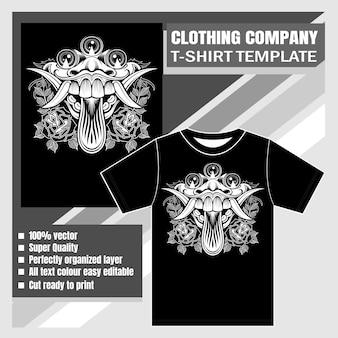 衣料品会社、tシャツテンプレート、バラとモンスター悪魔