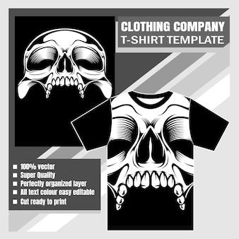 衣料品会社、tシャツテンプレート、頭蓋骨の手描き