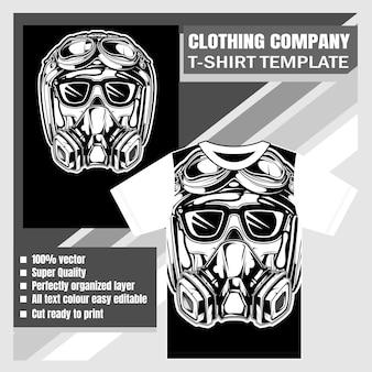 衣料品会社、tシャツテンプレート、レトロなヘルメットの手描きを着てスカル