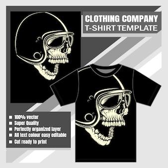 衣料品会社、tシャツテンプレート、ヴィンテージの怖いスカル