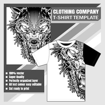 衣料品会社、tシャツテンプレート、オオカミ