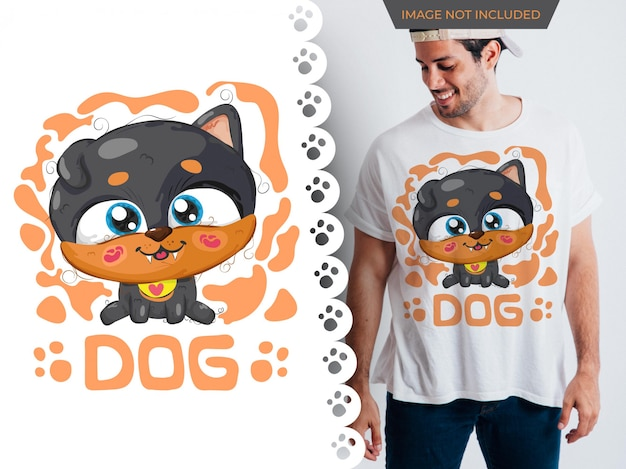 Tシャツのためのかわいい犬の完璧なアイデアの描画