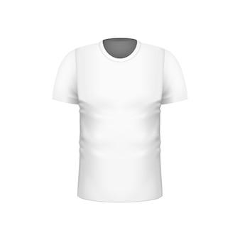 ブランドデザインのための現実的な空白の白人男性の半袖tシャツテンプレート。ベクトルイラスト
