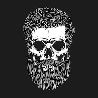 暗い背景にひげを生やした頭蓋骨。ポスター、エンブレム、tシャツの要素。図