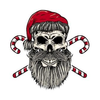 交差したクリスマスのお菓子とサンタクロースの頭蓋骨。ポスター、カード、tシャツの要素。図