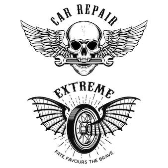 車の修理のエンブレム。翼付きホイール。翼とレンチの頭蓋骨。ロゴ、ラベル、エンブレム、記号、バッジ、tシャツの要素。図