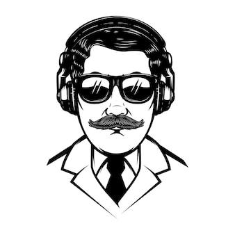 ヘッドフォンと太陽の艶出しを持つ紳士。ポスター、tシャツ、カードの要素。図