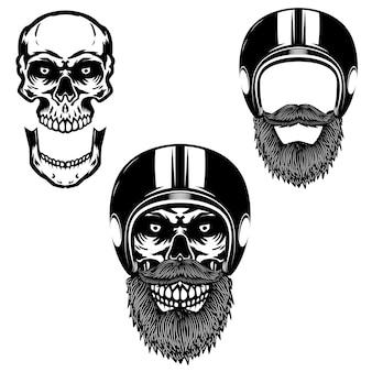 バイカーヘルメットの頭蓋骨。ポスター、カード、tシャツ、エンブレム、バッジの要素。画像