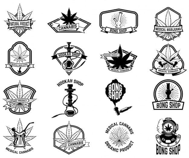 医療用マリファナとビンテージエンブレムのセットです。大麻の葉。ロゴ、ラベル、エンブレム、看板、ポスター、tシャツの要素。図