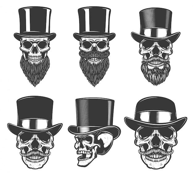 レトロな帽子の頭蓋骨のセットです。ポスター、カード、tシャツ、エンブレム、バッジの要素。画像