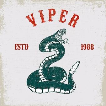 バイパーヘビグランジ背景のイラスト。ポスター、カード、tシャツ、エンブレムの要素。画像
