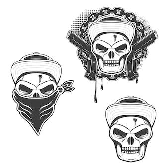 白い背景で隔離のギャングスタ頭蓋骨のセットです。 tシャツプリント、ポスター、ステッカーのデザイン要素です。
