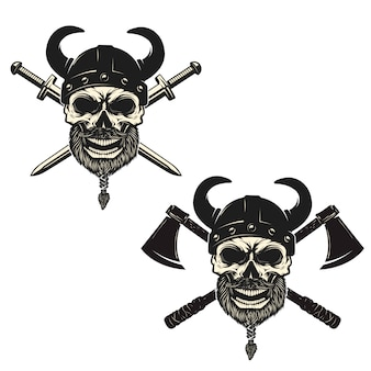 交差した剣と軸を持つバイキングのヘルメットの頭蓋骨のセット。ポスター、エンブレム、看板、tシャツプリントの要素。