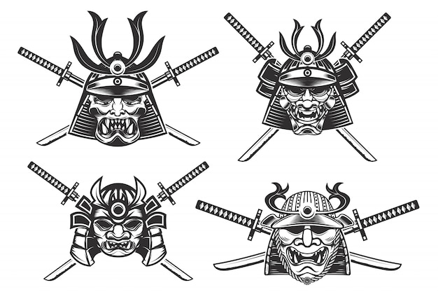白い背景の上の剣とサムライヘルメットのセット。 、ラベル、エンブレム、ポスター、tシャツの要素。図。