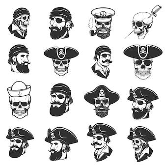 海賊の頭と頭蓋骨のセット。ラベル、エンブレム、記号、バッジ、ポスター、tシャツの要素。図