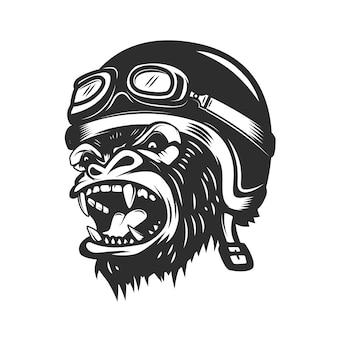 レーサーヘルメットの怒っているゴリラの類人猿。ロゴ、ラベル、エンブレム、ポスター、tシャツの要素。図