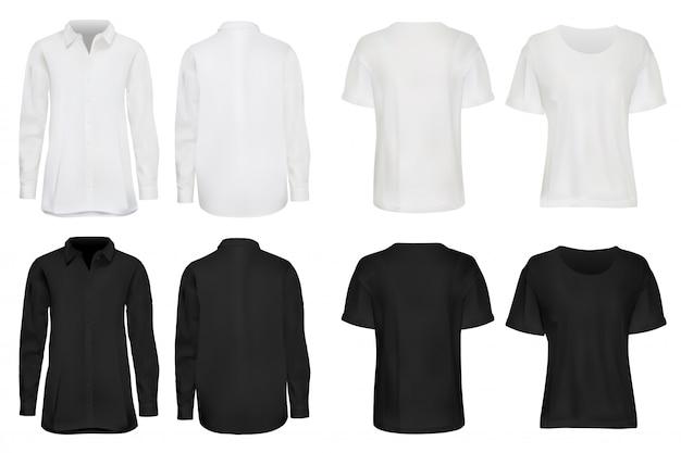 シャツセット。現実的な暗い、白いシャツ、スウェットシャツ、明るい背景に設定したtシャツ。ブランドイラストの空の場所でファッショナブルなアパレル。カジュアルウェアの前面、背面図