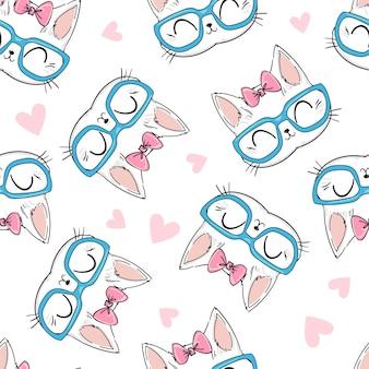 シームレスパターンかわいい猫とメガネと弓のスケッチ図、印刷デザイン猫、子供たちはtシャツに印刷します。