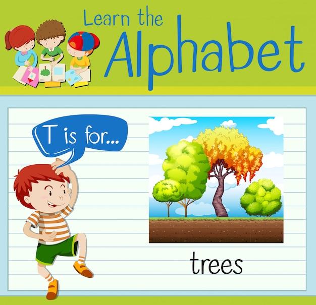 フラッシュカード文字tは木のためのものです