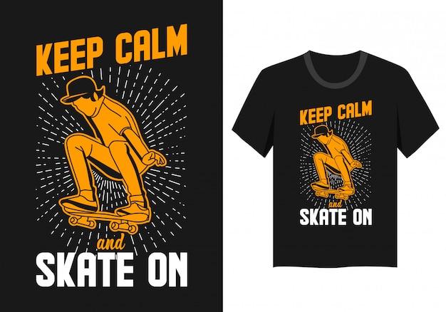 スケートボード引用タイポグラフィtシャツ