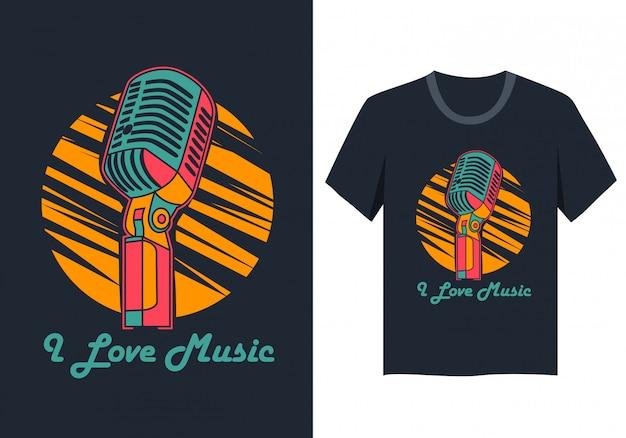 音楽が大好き-レトロなマイク付きtシャツデザイン