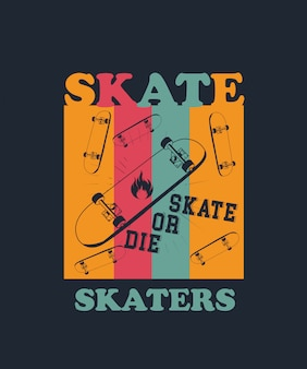 Tシャツデザインのスケーターのベクトル