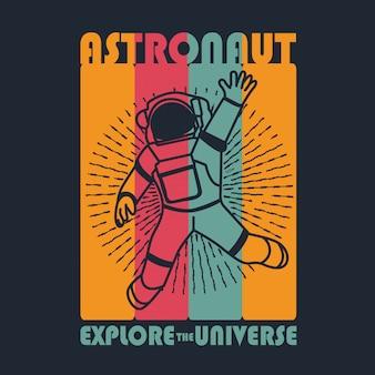 Tシャツデザインの宇宙飛行士