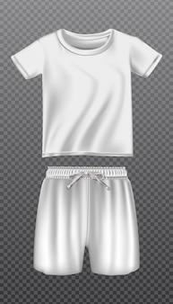 アイコンは白いtシャツとスポーツやトレーニングのショートパンツのモックアップ。透明な背景に分離されました。
