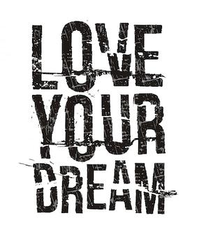 プリントtシャツの夢のタイポグラフィが大好き