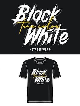 印刷tシャツの黒白いタイポグラフィ