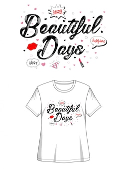 プリントtシャツの美しい日タイポグラフィ