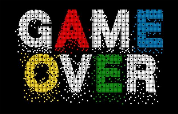 印刷tシャツのゲームオーバータイポグラフィ