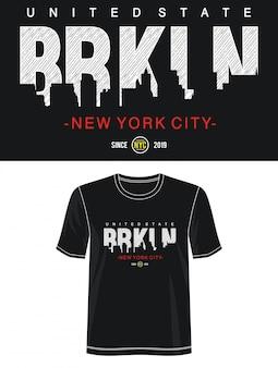 プリントtシャツのニューヨーク市タイポグラフィ
