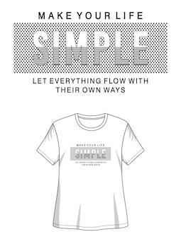 プリントtシャツの簡単なタイポグラフィ