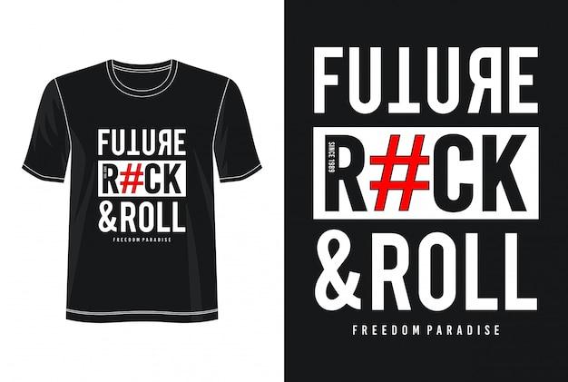 プリントtシャツの未来のロックンロールタイポグラフィ