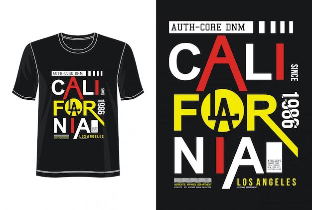 カリフォルニアタイポグラフィデザインtシャツ