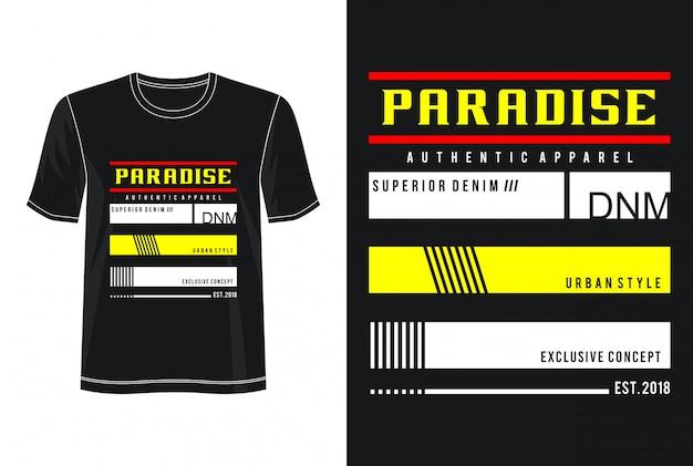 パラダイスタイポグラフィデザインtシャツ
