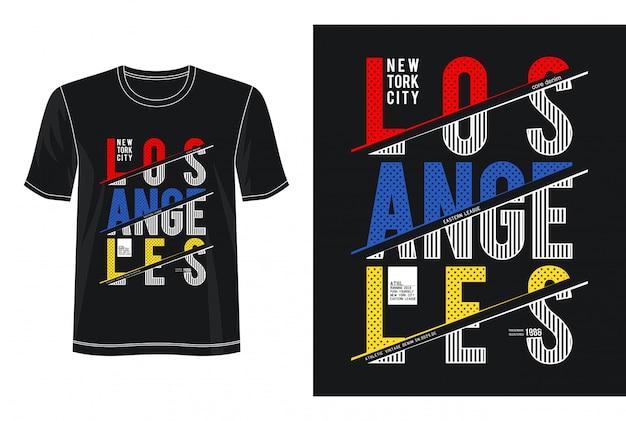 ロサンゼルスタイポグラフィデザインtシャツ