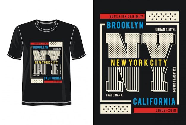 ニューヨーク市タイポグラフィデザインtシャツ