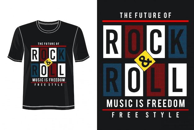 未来のロックンロールタイポグラフィデザインtシャツ