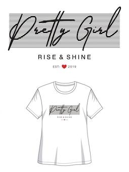 印刷tシャツの美少女タイポグラフィ