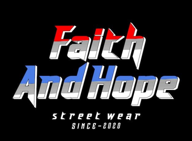 プリントtシャツの信仰と希望のタイポグラフィ
