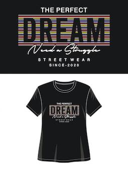印刷tシャツの女の子のための夢のタイポグラフィ