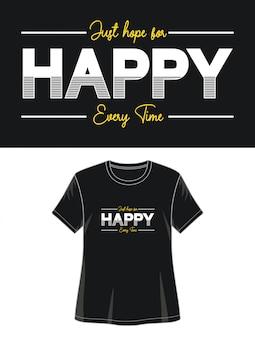 印刷tシャツの女の子のための幸せなタイポグラフィ