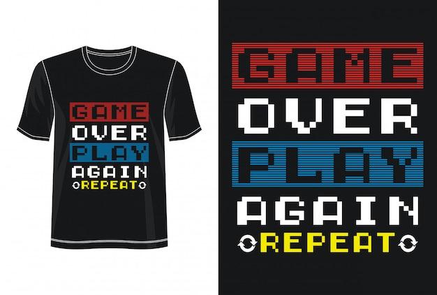 プリントtシャツのゲームオーバータイポグラフィ